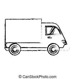 caminhão entrega, carga, transporte, esboço