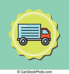 caminhão entrega, emblema, caricatura, transporte