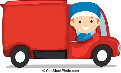 caminhão entrega, homem