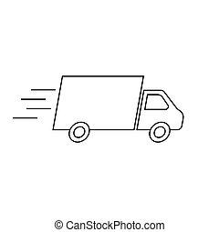 caminhão entrega, isolado