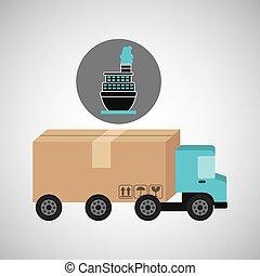 caminhão entrega, navio, conceito, recipiente