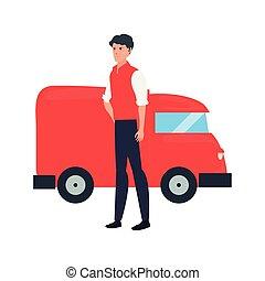 caminhão entrega, rapidamente, logistic, homem
