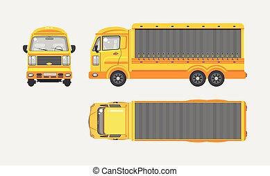 caminhão entrega, topo, frente, vista lateral
