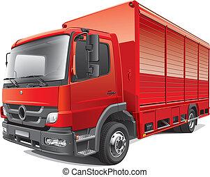 caminhão entrega, vermelho
