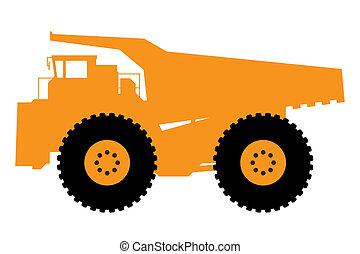 caminhão, entulho, pesado