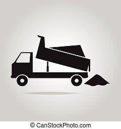 caminhão, entulho, símbolo
