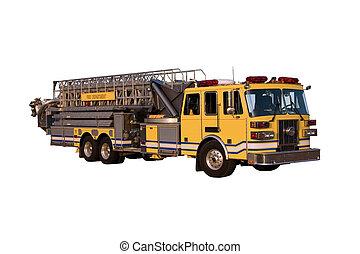 caminhão, escada, ângulo, isolado