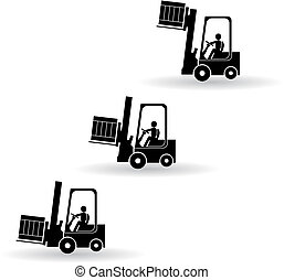 caminhão, forklift, silueta