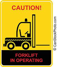 caminhão, forklift, -, sinal