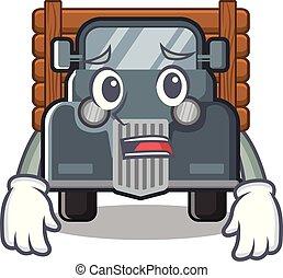 caminhão, forma, amedrontado, antigas, mascote