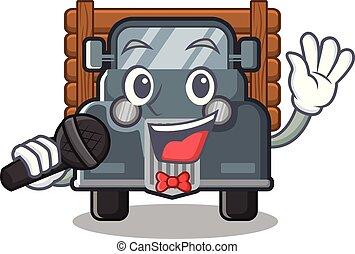 caminhão, forma, antigas, cantando, mascote