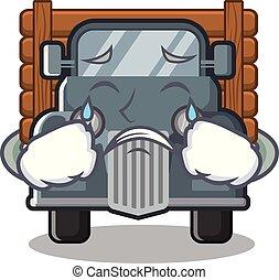 caminhão, forma, antigas, chorando, mascote