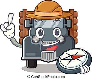 caminhão, forma, antigas, explorador, mascote