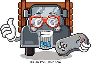 caminhão, forma, antigas, gamer, mascote