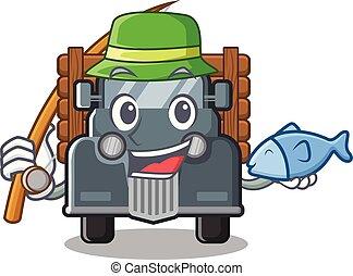 caminhão, forma, antigas, pesca, mascote