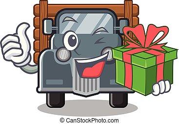 caminhão, forma, antigas, presente, mascote
