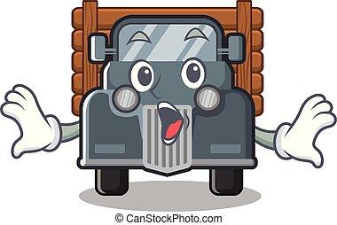 caminhão, forma, antigas, surpreendido, mascote