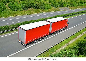 caminhão, highway.