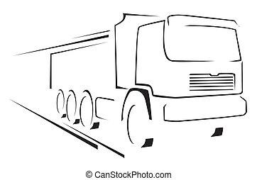 caminhão, ilustração, símbolo, vetorial