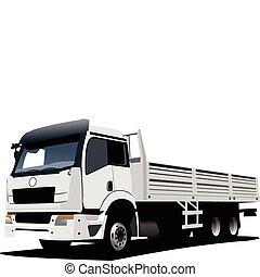 caminhão, ilustração, vetorial, branca