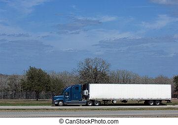 caminhão, ligado, rodovia