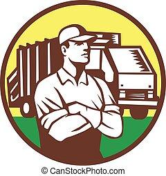 caminhão lixo, retro, lixo, círculo, cobrador