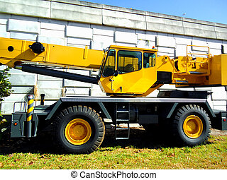 caminhão, maquinaria, amarela