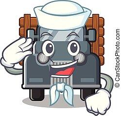 caminhão, marinheiro, antigas, isolado, caricatura
