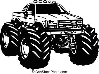 caminhão, monstro, caricatura