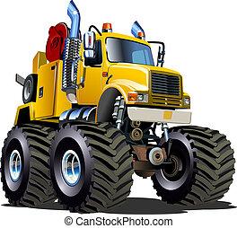 caminhão monstro, reboque, caricatura