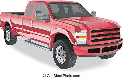 caminhão pick-up, vermelho