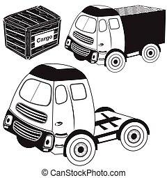 caminhão, pretas, transporte, ícones