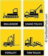 caminhão reboque, escavadora, guindaste