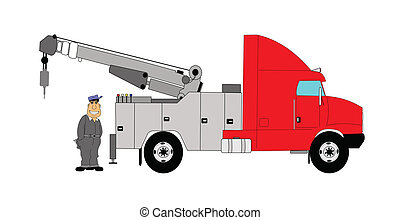 caminhão reboque, motorista