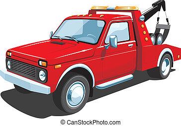 caminhão, reboque, vermelho
