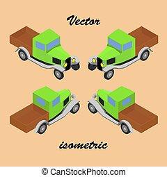 caminhão, retro, isometric.