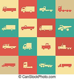caminhão, retro, transporte, ícones