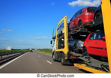 caminhão, rodovia, transporte