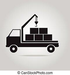 caminhão, símbolo, guindaste