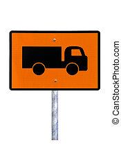 caminhão, sinal aviso, -, corrente, australiano, sinal estrada, (reflective), -, isolado, branco