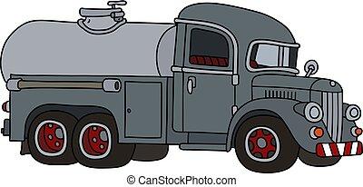 caminhão tanque, engraçado, cinzento, clássicas