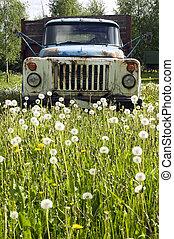 caminhão velho, em, natureza, conceito