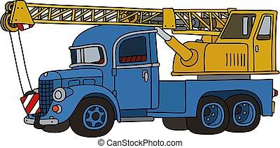 caminhão velho, engraçado, guindaste, azul, amarela