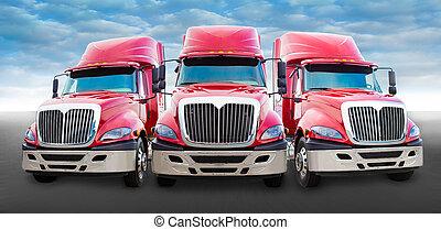 caminhão vermelho, estrada