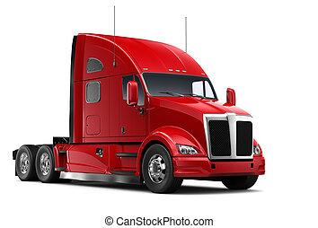 caminhão vermelho, pesado, isolado