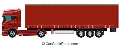 caminhão, vermelho, reboque