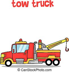 caminhão, vetorial, arte, caricatura, reboque