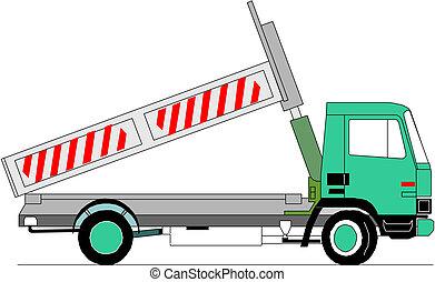caminhão, vetorial, pesado