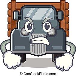 caminhão, zangado, antigas, forma, mascote