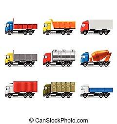 caminhões, ícones, vetorial, jogo